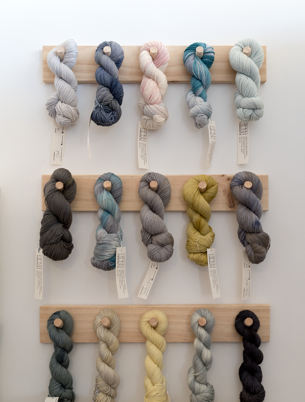 Skeins of Leslie's handdyed Fibresmith yarn. Photo by Susan Fitzgerald.