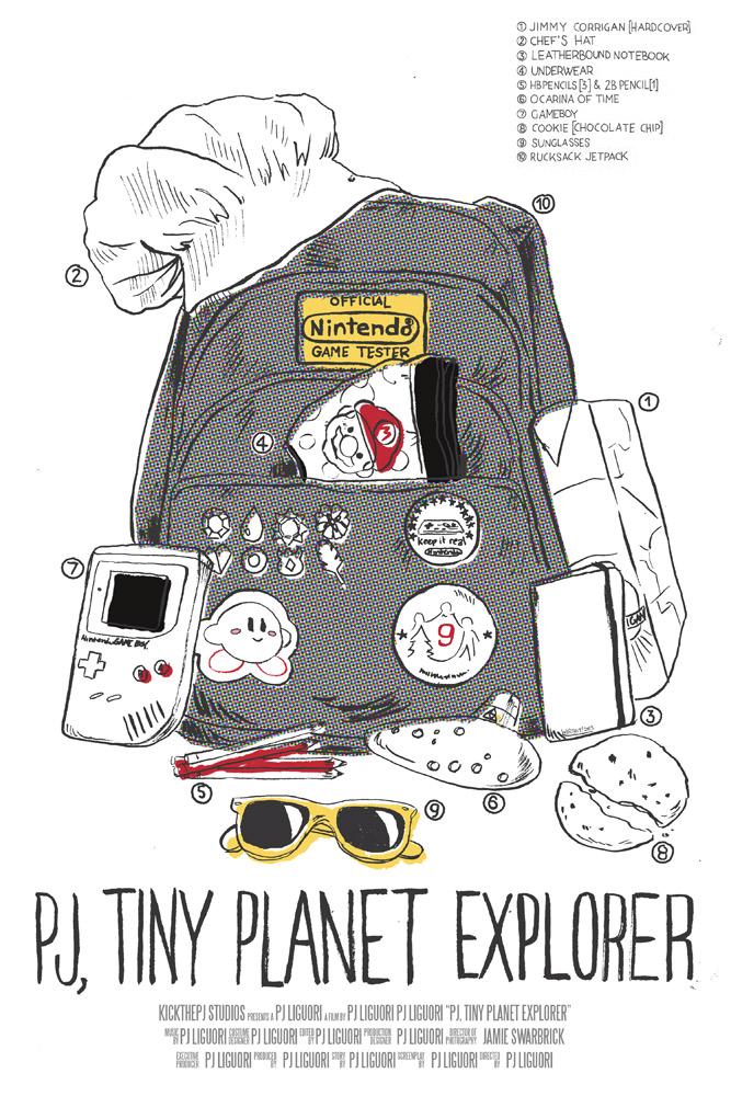 Mock film poster for the short film, PJ, Tiny Planet Explorer , by PJ Liguori. Ink and digital media.