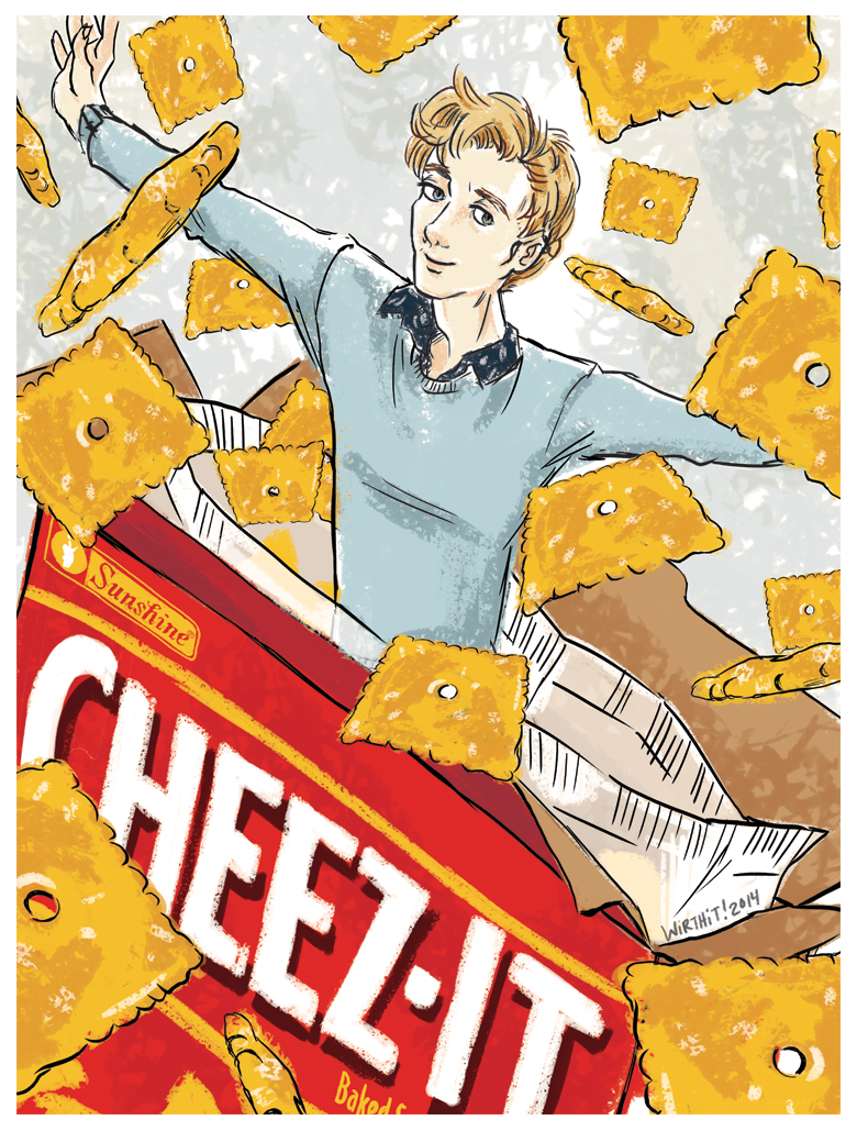 Personal illustration for a friend who loves Cheez-It Crackers.