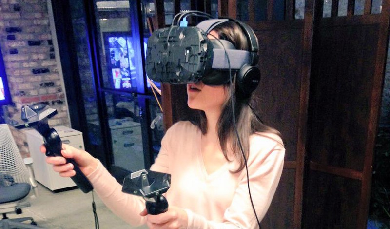Playing with the VR gear at Emergent VR's office in San Francisco