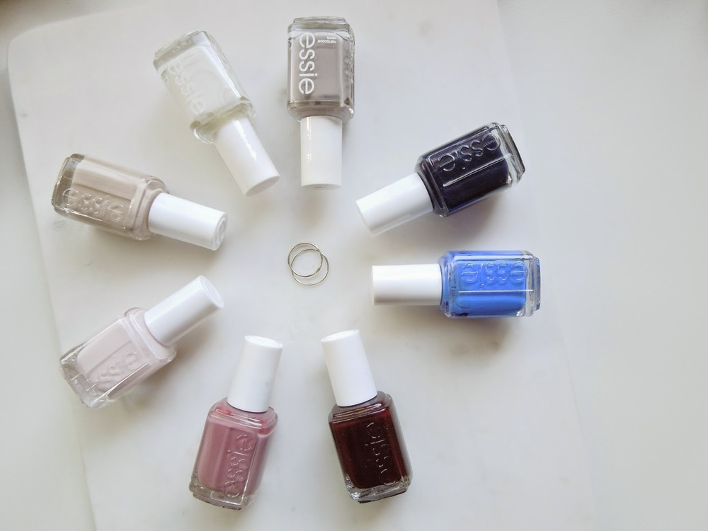 Essie Nail Polish, Sand Tropez, Blanc, Master Plan, After School Boy Blazer, Butler Please