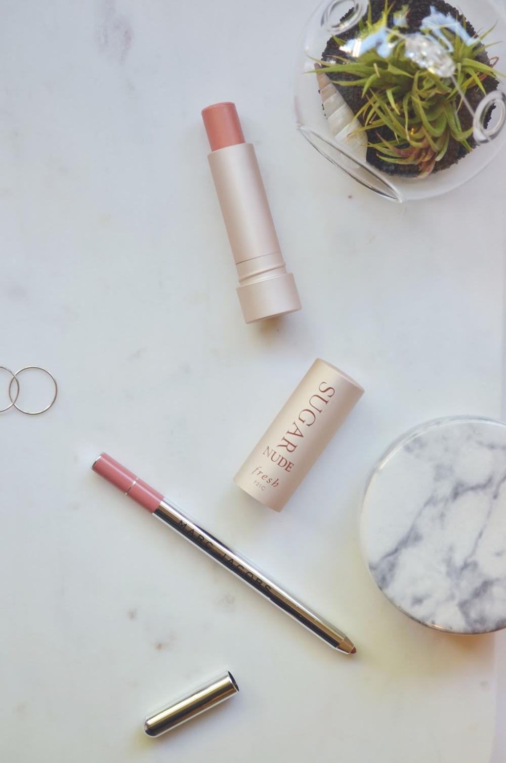 Fresh Sugar Lip Treatment, Fresh Nude, Marc Jacobs Prim(Rose), Marc Jacobs Primrose