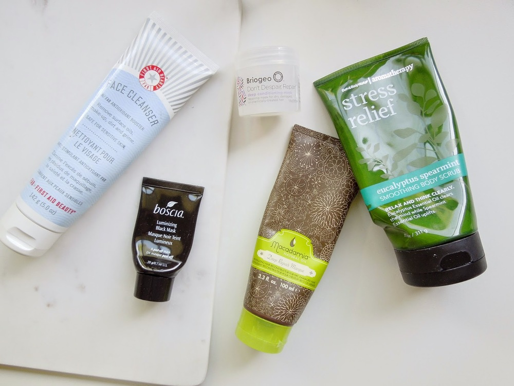 Empties, First Aid Beauty, Boscia Mask, Macadamia Deep Repair Mask