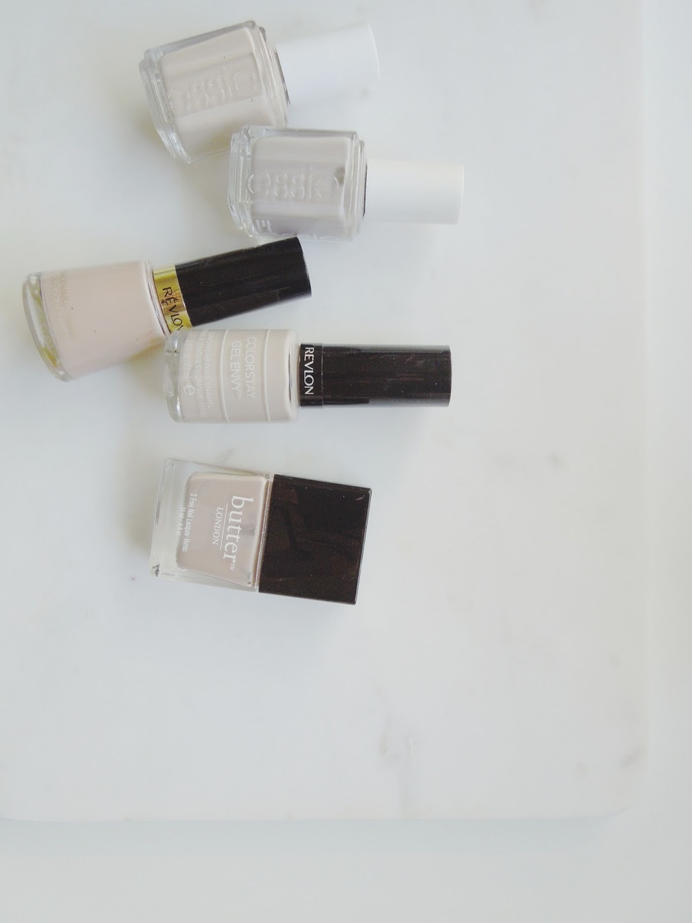 Essie, Revlon, Butter London, Sand Tropez, Master Plan, Grey Suede, Checkmate, Yummy Mummy