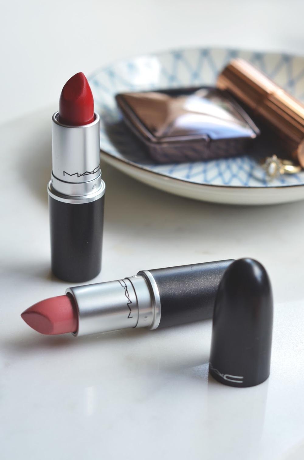 MAC Lipsticks, MAC Ruby Woo, MAC Peach Blossom