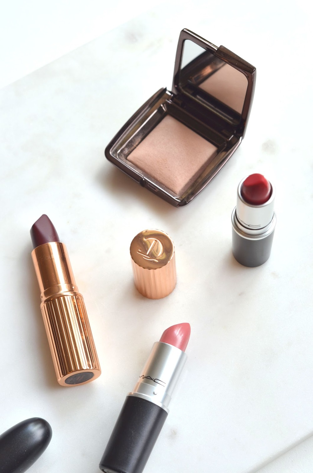MAC Lipsticks, MAC Ruby Woo, MAC Peach Blossom, Hourglass Ambient Powder, Hourglass Dim Light, Charlotte Tilbury, Charlotte Tilbury Glastonberry, Charlotte Tilbury Matte Revolution Lipsticks