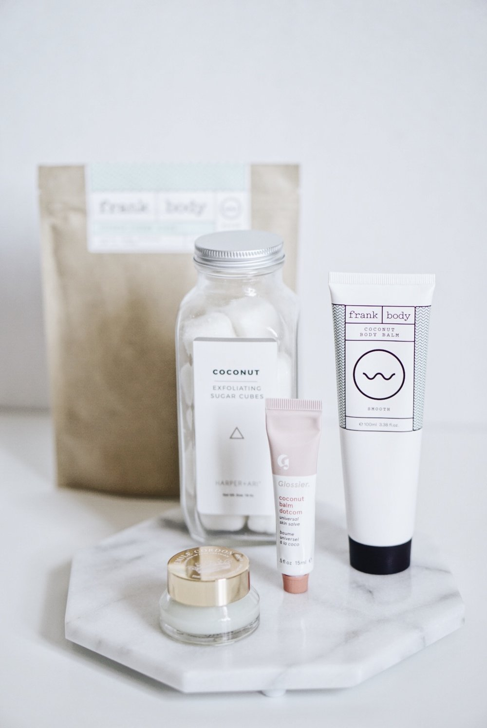 Coconut Scented Beauty: Frank Body, Glossier, Emile Cordon, Harper + Ari