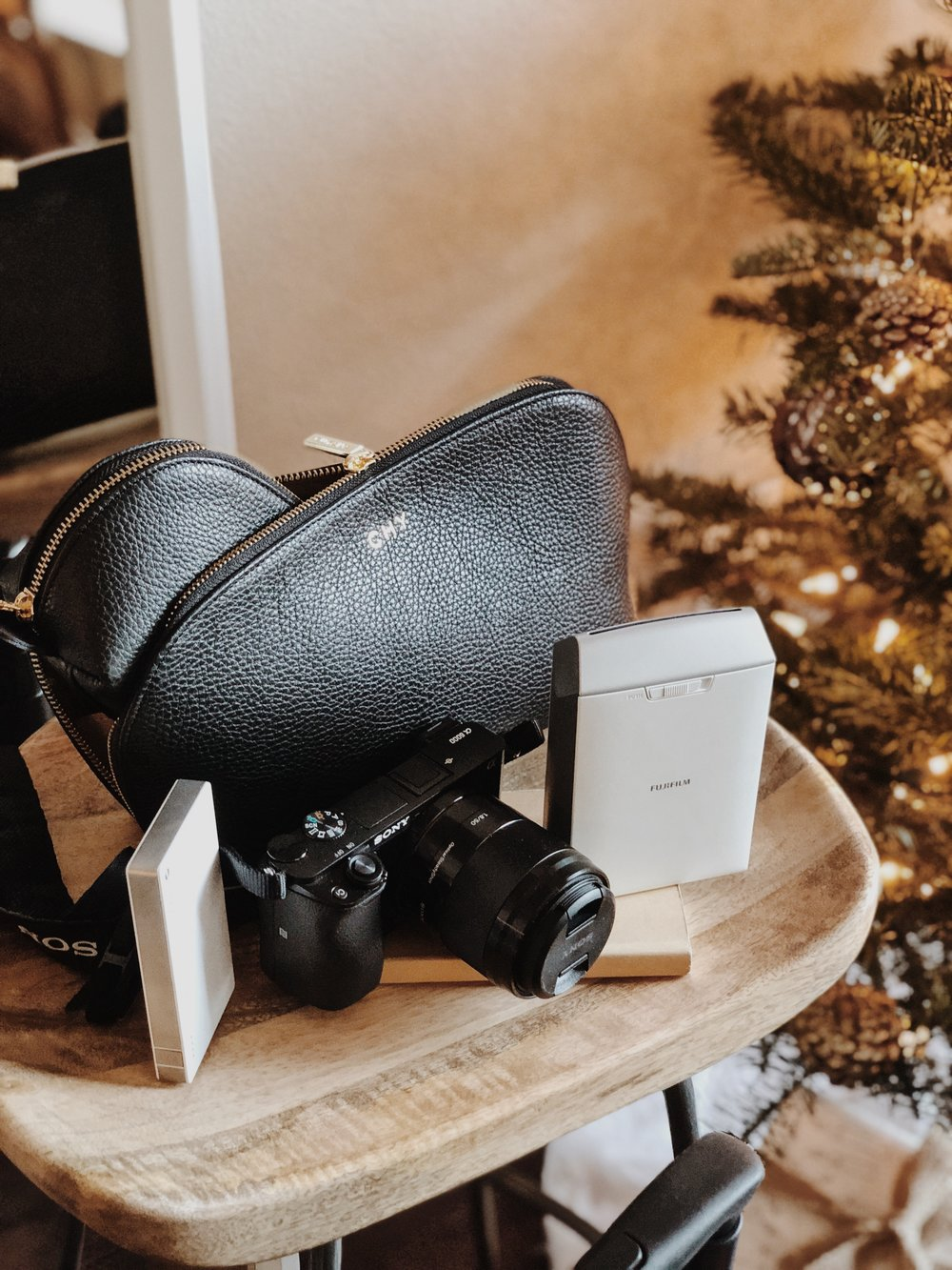 CHY Gift Guide Traveler Gifts, Cuyana Makeup Bag, Sony a6000, Fujifilm