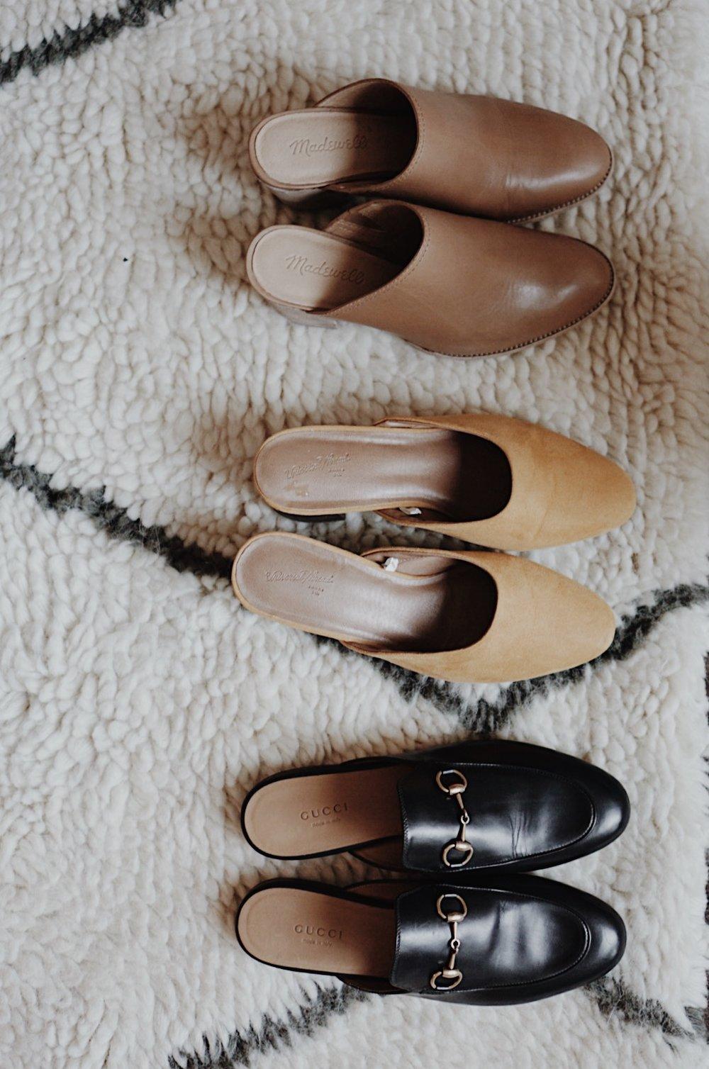 Summer Essentials Shoes: Madewell Harper Mule, Target Style Mustard Mule, Gucci Princetown Mule