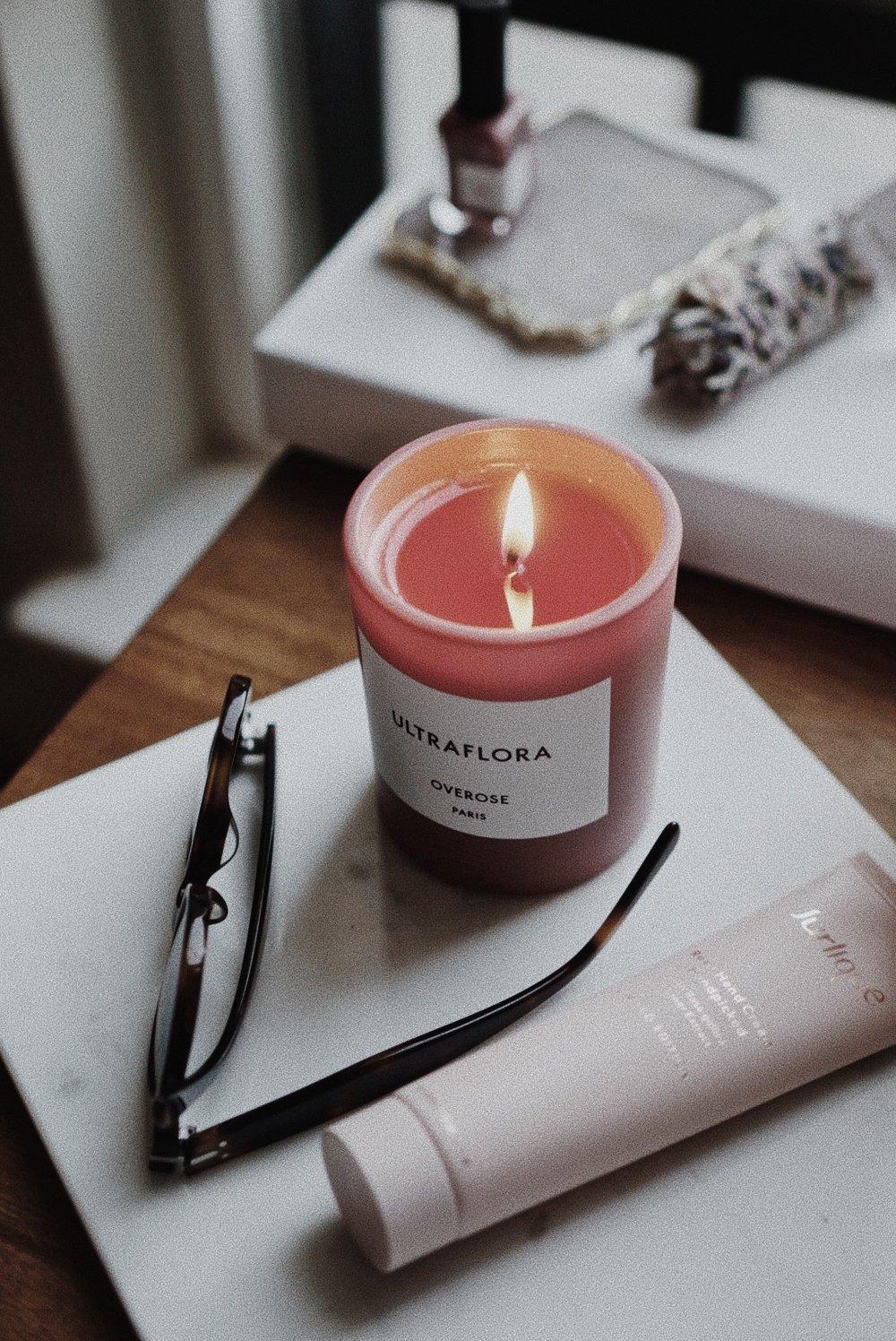 Overose Ultraflora Candle Jasmine; Jurlique Handpicked Rose Cream Limited Edition