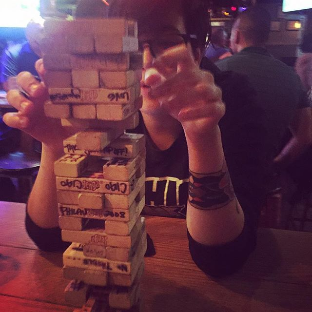 This heat is crazy! Wouldn't you rather be playing Jenga? #happyhour #boardgames #tuesday