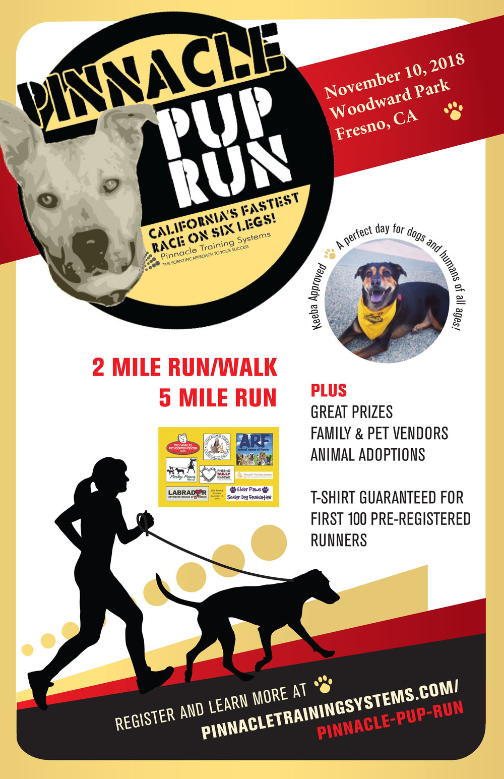 Fresno Humane is excited to be participating in this years Pinnacle Pup Run.  Now here is  message from the wonderful people at Pinnacle Training.     Pinnacle Pup Run 2018   We are excited to announce our 2018 Pinnacle Pup Run that will be held on November 10, 2018. Click   here    to register for this annual event. You can also get more information on our Facebook page      Can't make it but still want to show your support? It's not too late to make a donation!  100% of all donations and registrations will be divided among all shelters in attendance of the even