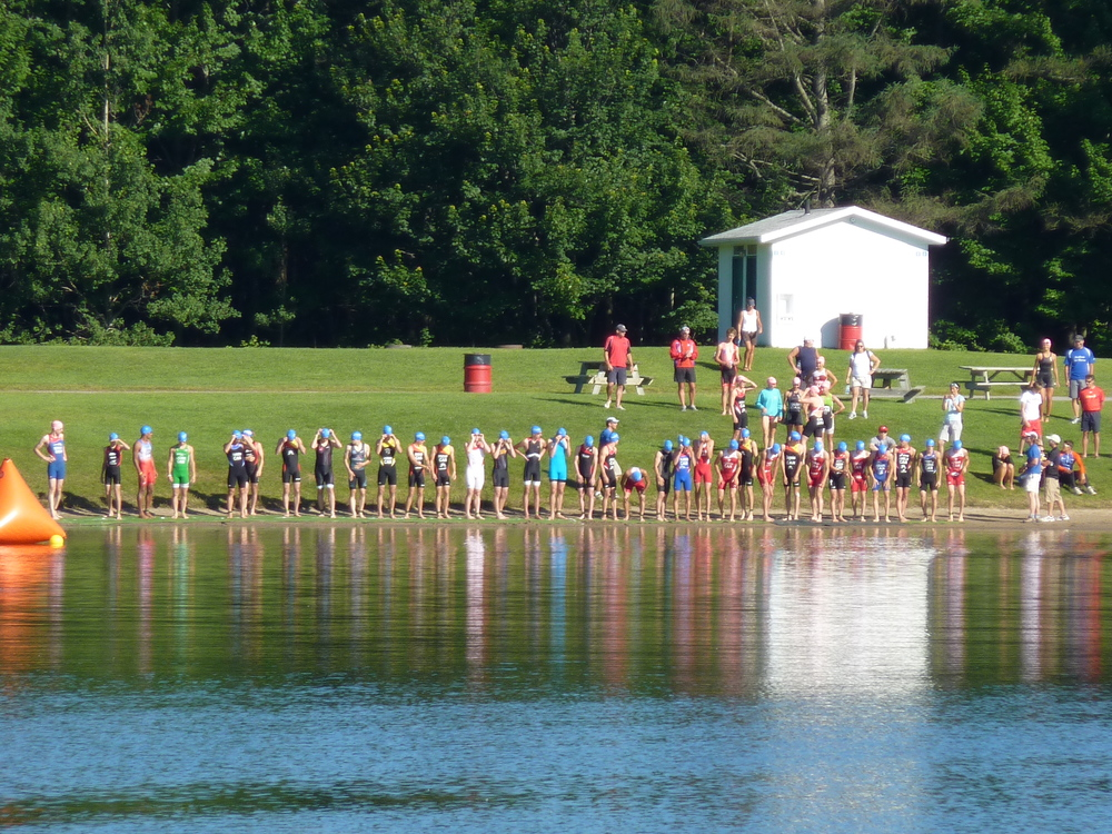 Elite Triathlon Start in Quebec City.  Photo by: Kelly