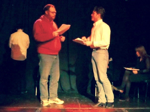 Me and Scott Brown reading a short play at the Seattle Theatre Readers a few years back. I'm the short one.