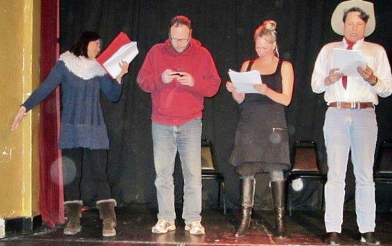 This is not my play being read, lord knows which one it is (we read many in this group). That is me on the far right, underneath the cowboy hat, Not that tall in really life.