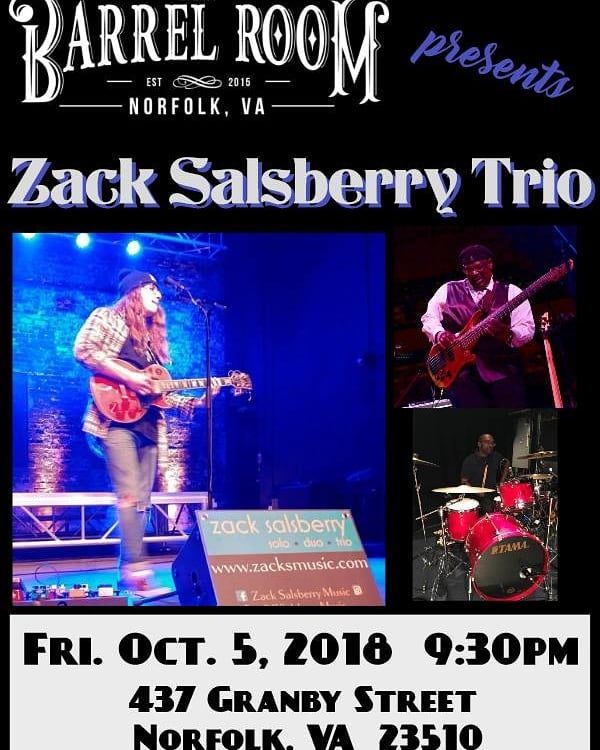 Zack Salsberry Trio at @thebarrelroomva  FRIDAY !! Getcha some !! https://www.facebook.com/events/468507910277993/?ti=cl  @downtown757 #blues #classicrock #indierock #originalmusic #musictherapy #livemusic #supportlivemusic #supportgoodmusic #norfolk #norfolkva #tidewater #hamptonroads #firstfridays #gibsonguitars #peaveyamps #yamaha #makemusicgreatagain