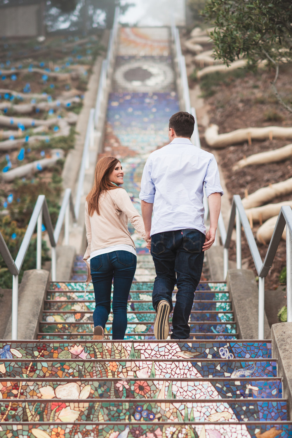Mosaic Stairs // San Francisco Engagement // Ashley Petersen Photography