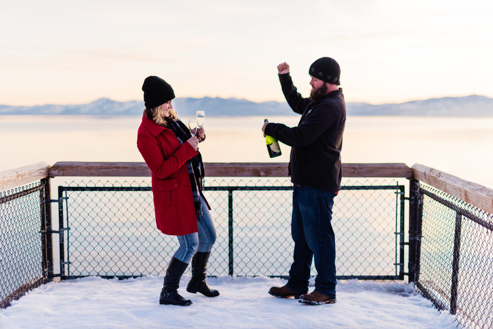 Lake Tahoe Snow Engagement // At the docks