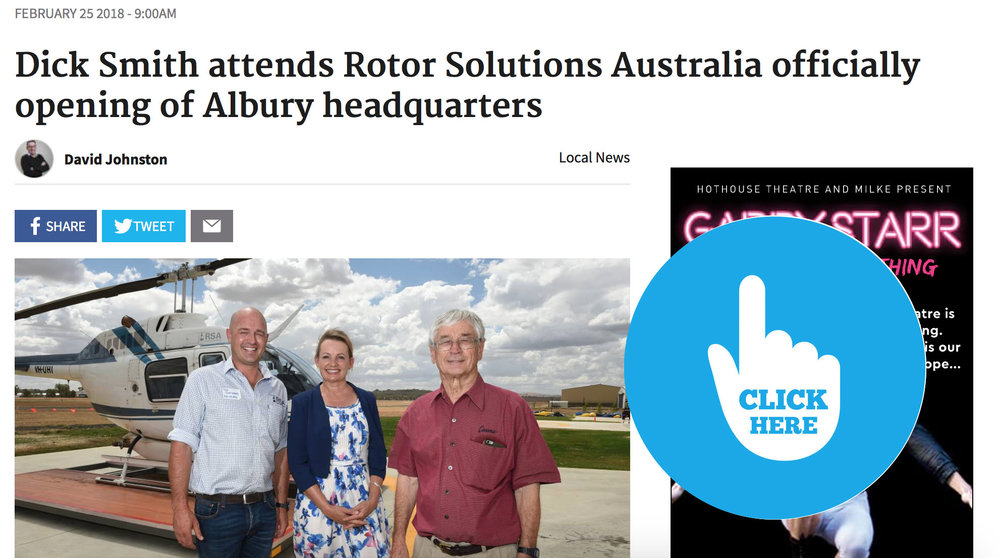 """Rotor Solutions Australia hangar opening at Albury Airport"" - 25th February 2018 - Border Mail"