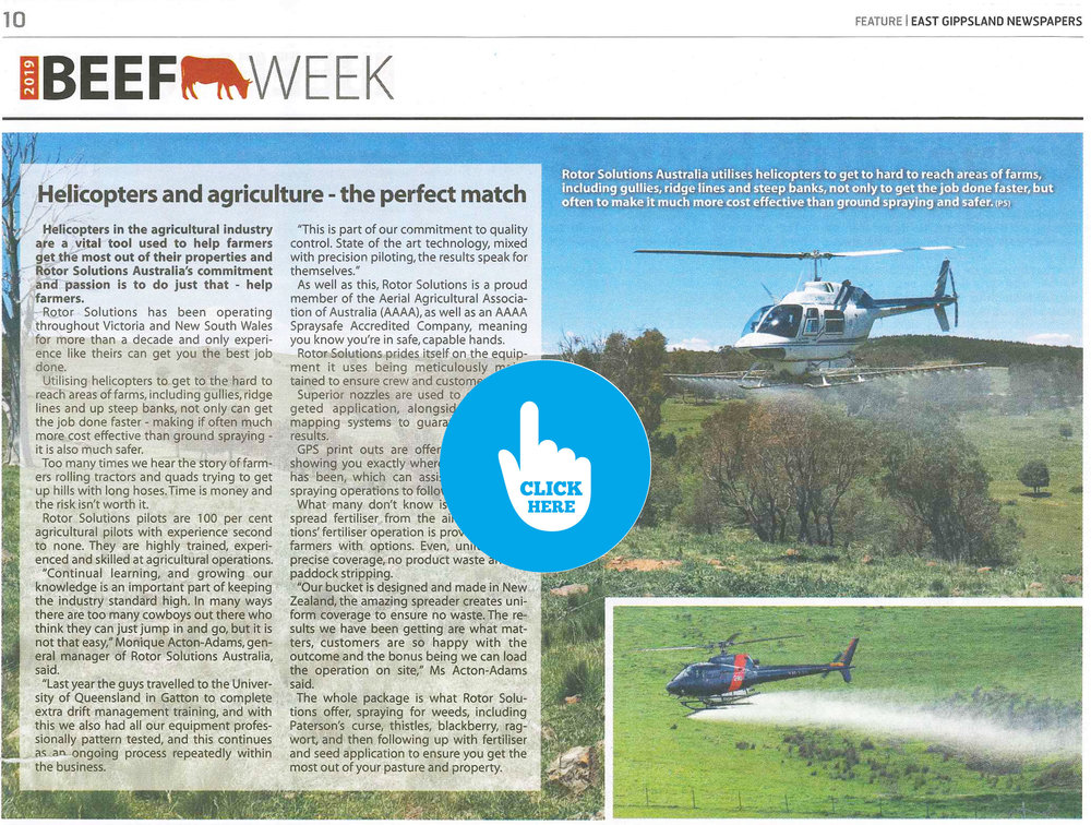 """Helicopters and agriculture"", the perfect match"" - 28th January 2019 - East Gippsland Newspapers - BEEF WEEK FEATURE"