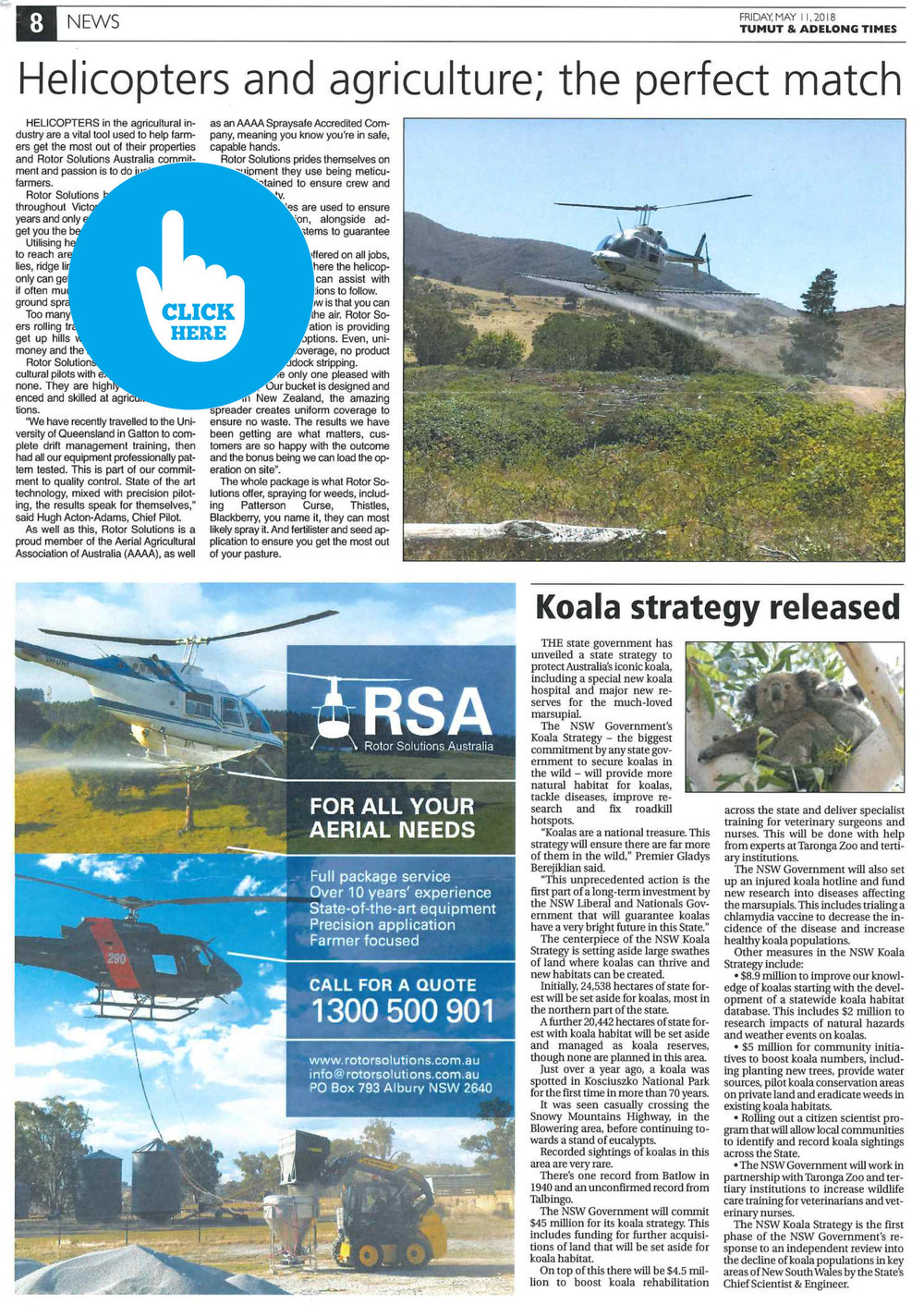 """Helicopters and Agriculture; the perfect match!"" - 11th May 2018 - Tumut and Adelong Times"