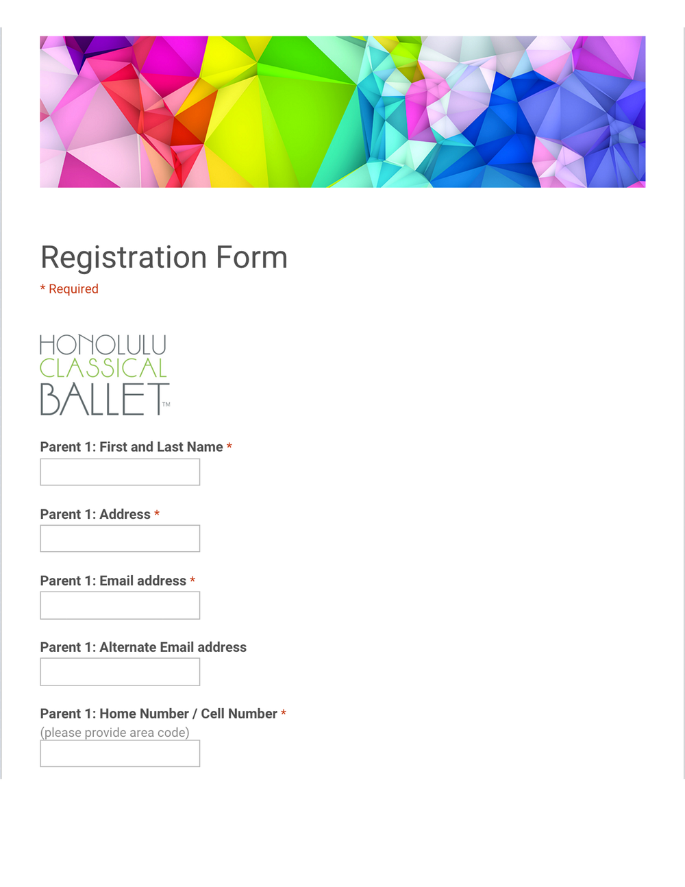 Registration Form via Google forms