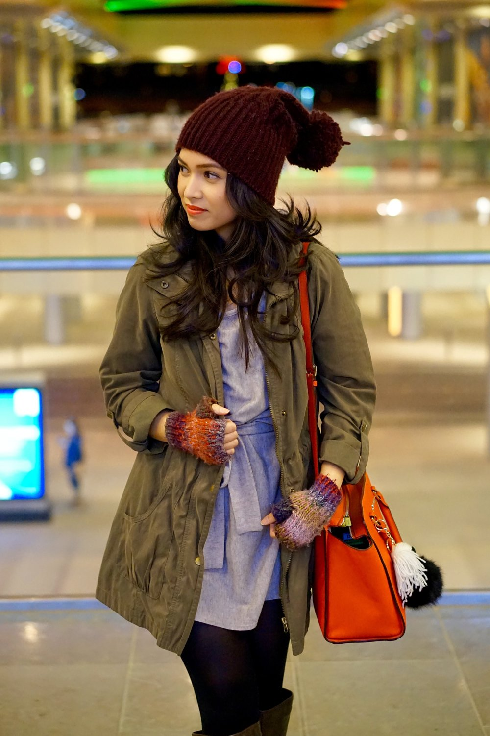 Hat, Poncho and Gloves: Forever 21 ; Selma Bag: Michael Kors