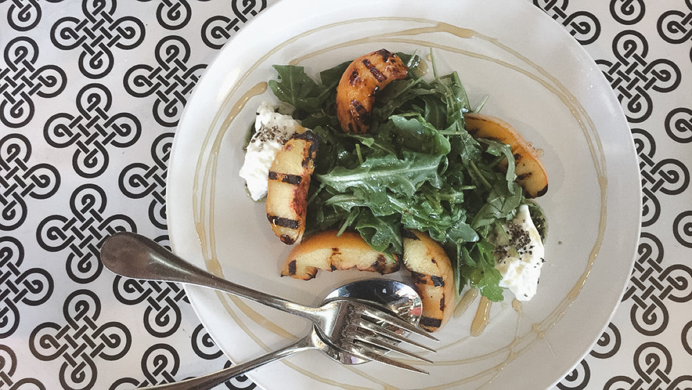 Grilled Peach Burrata - Arugula, Black Pepper Honey, Basil Pesto