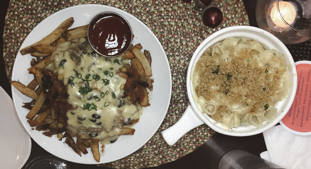 Chili Cheeze Fries and Violette's Mac & Cheeze