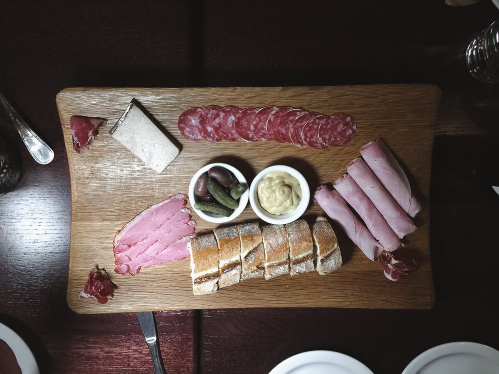 Charcuterie Board -  Jambon de Paris, Saucisson, Coppa, Smoked Duck magret with Dijon