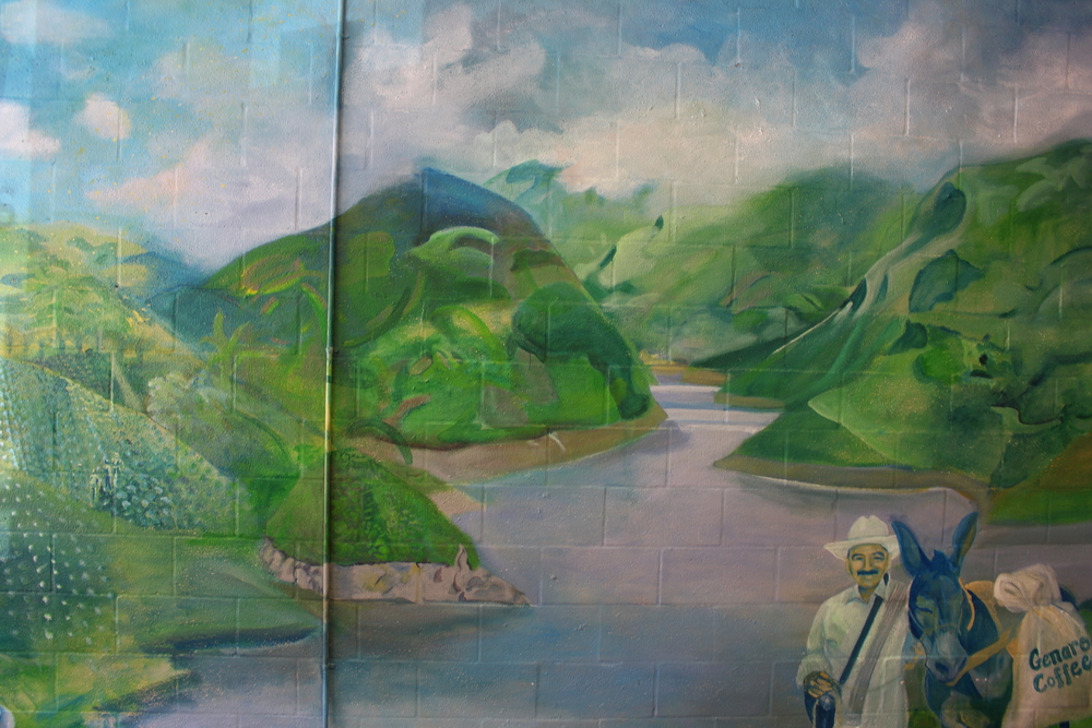 Detail of Colombia Coffee Farm Mountain Mural
