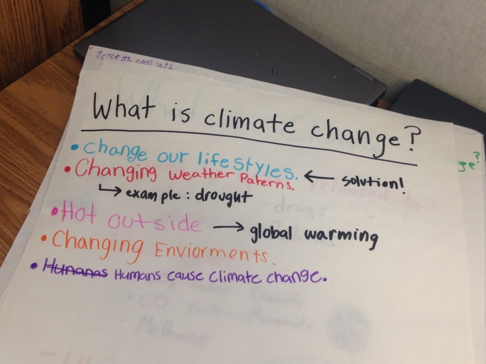 Climate change posters made by the students to recap what they learned this week.