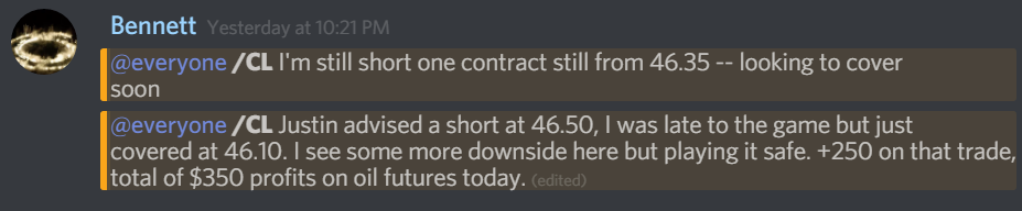 We called the oil short early in our room. Crude oil futures saw a low of $43.76. Potential $2.50 profit. On a single contract, that is $2,500.