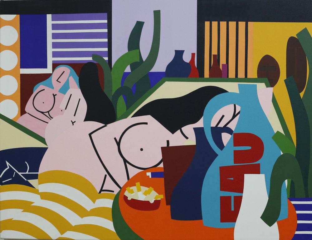 """Salon de femmes V"" - Acrylic on Linen - 125 x 88cm"