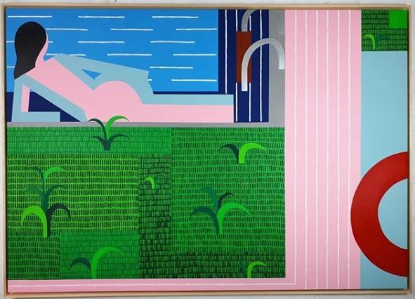 Swimming Pool- Acrylic on Linen - 162x114