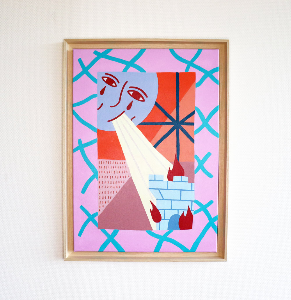 """La destruction"" - Mixed media on Canvas  - 50 x 70 cm"