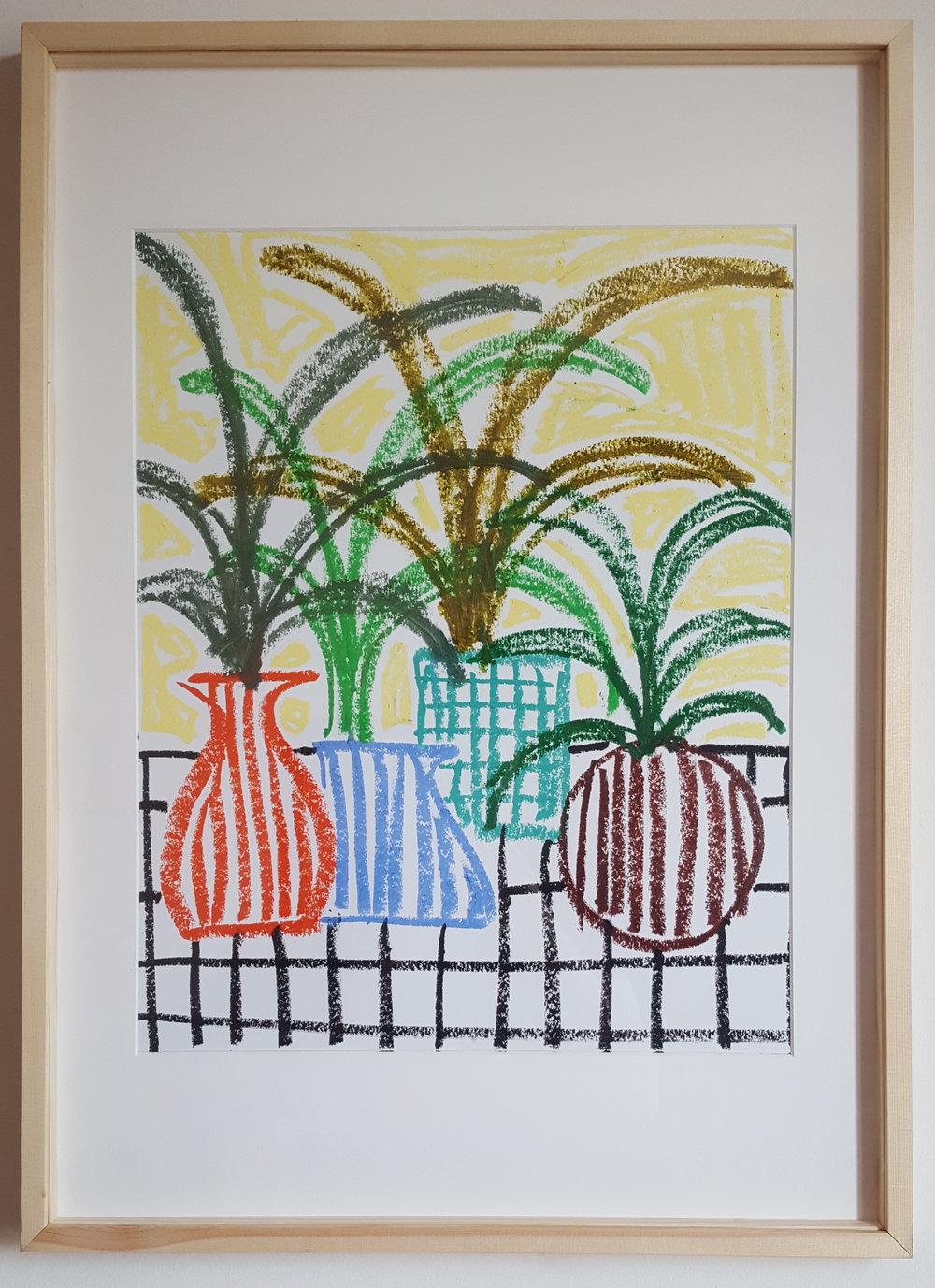 """""""Pot de fleur I""""  - Oil Pastel on paper - 50 x 65 cm - wood framed - 2019"""