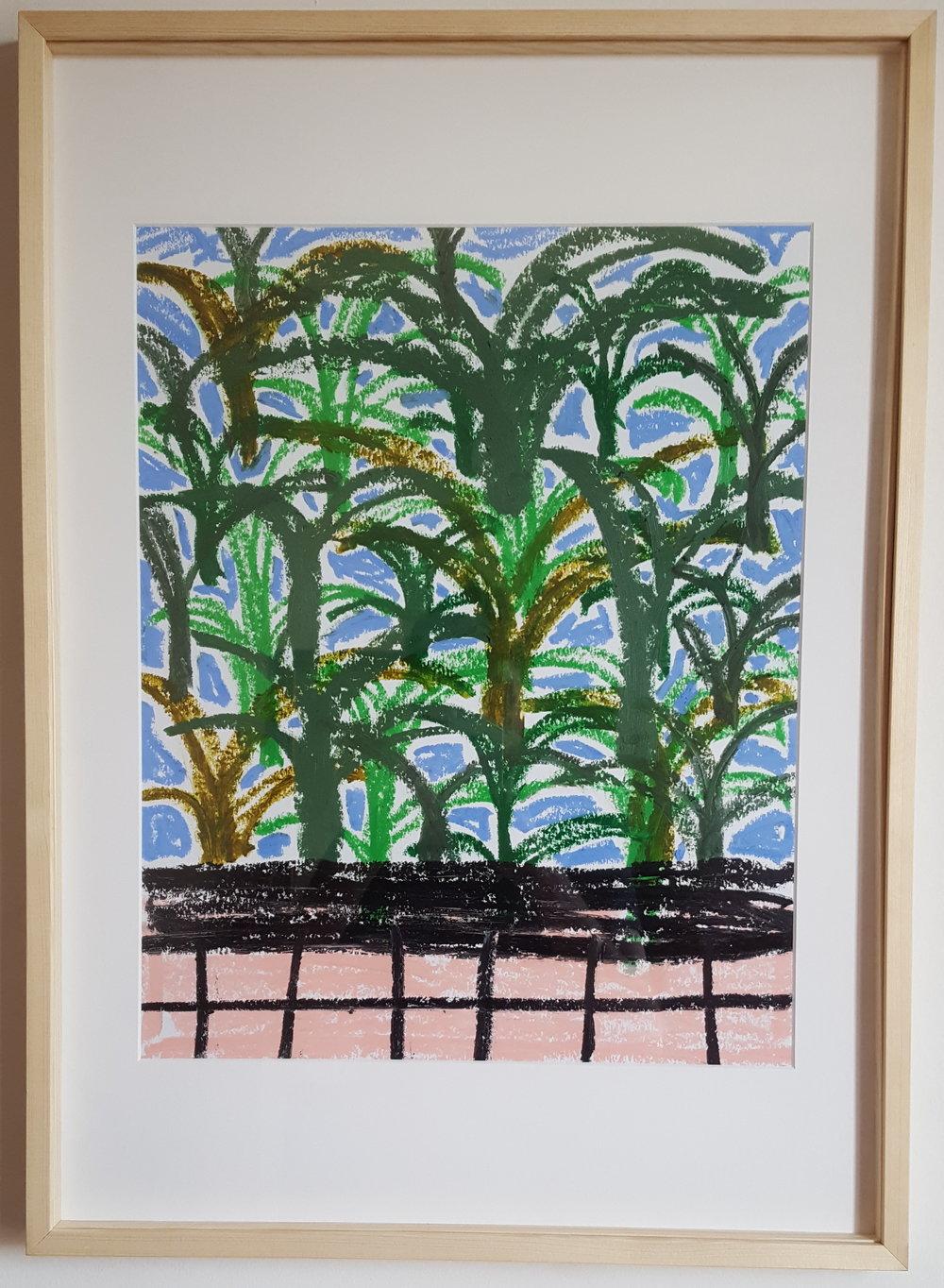 """""""Plante d'eau""""  - Oil Pastel on paper - 50 x 65 cm - wood framed - 2019"""