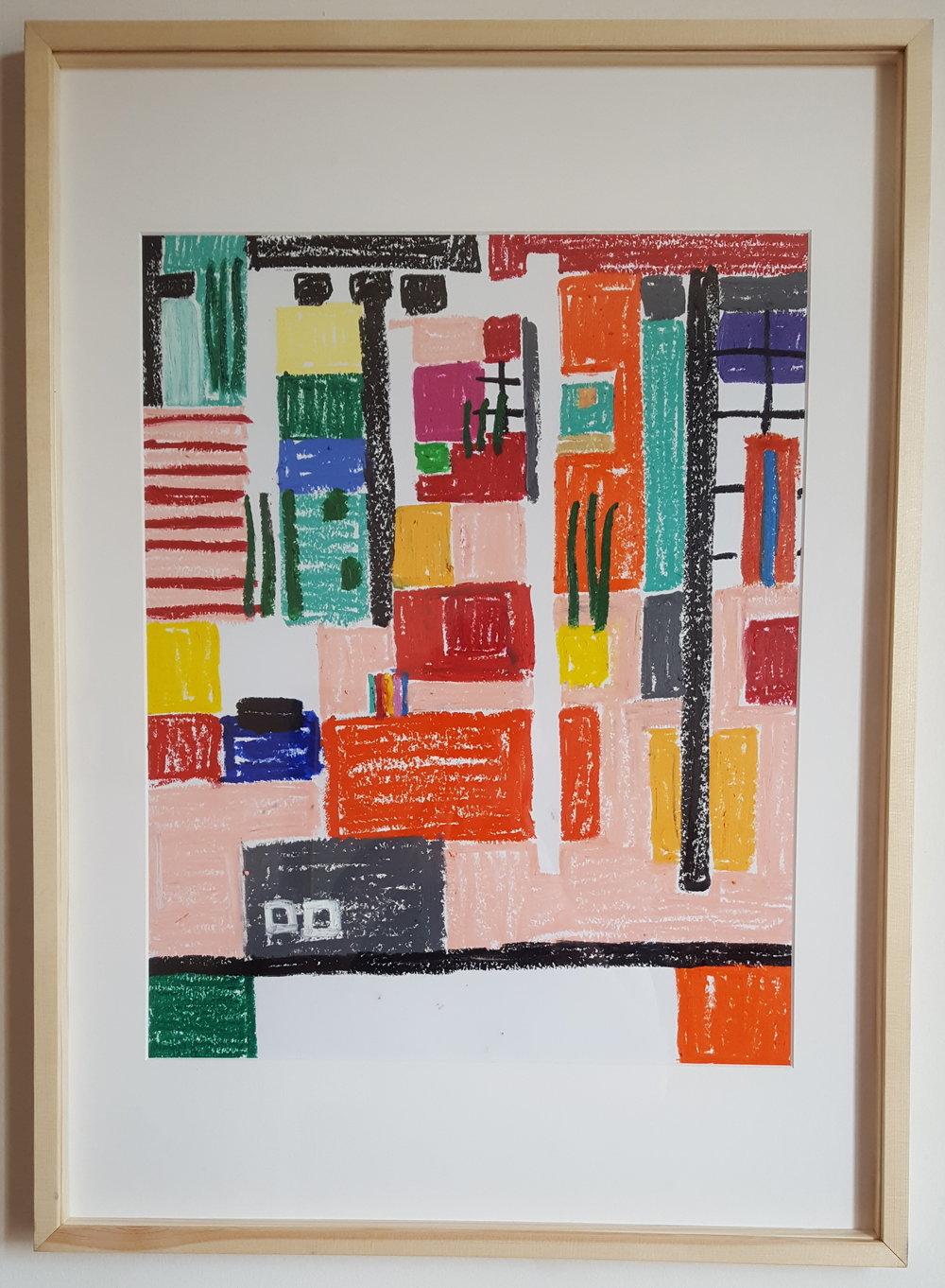 """Schématisation salon Arp""  - Oil Pastel on paper - 50 x 65 cm - wood framed - 2019"