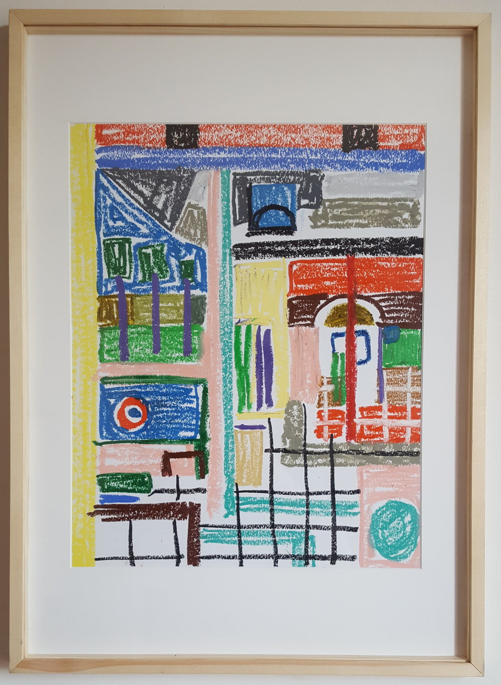 """Pastel Patio I""  - Oil Pastel on paper - 50 x 65 cm - wood framed - 2019"