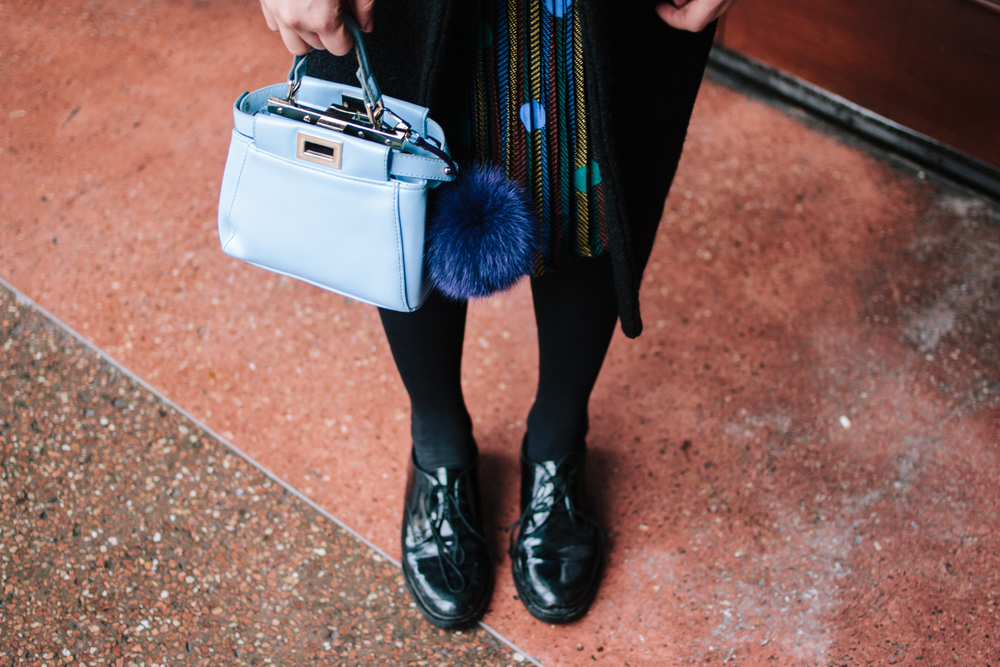 Coat - Romwe | Dress - Romwe | Shoes - Minelli | Bag - Fendi | Pom-pom - Annie's corner