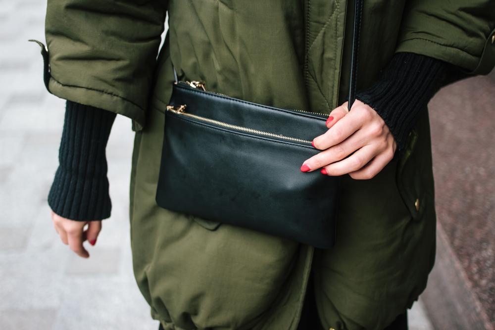 Coat - Dolcedonna | Dress -&Other Stories | Sneakers - Nike | Bag - Mango | Earrings - Pavlov Jems