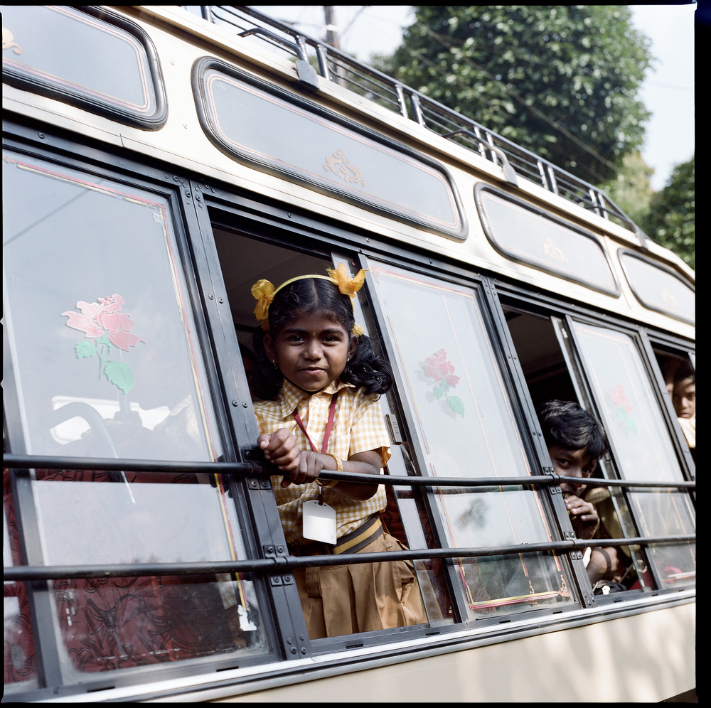 India, Kerala, Girl on the way to school