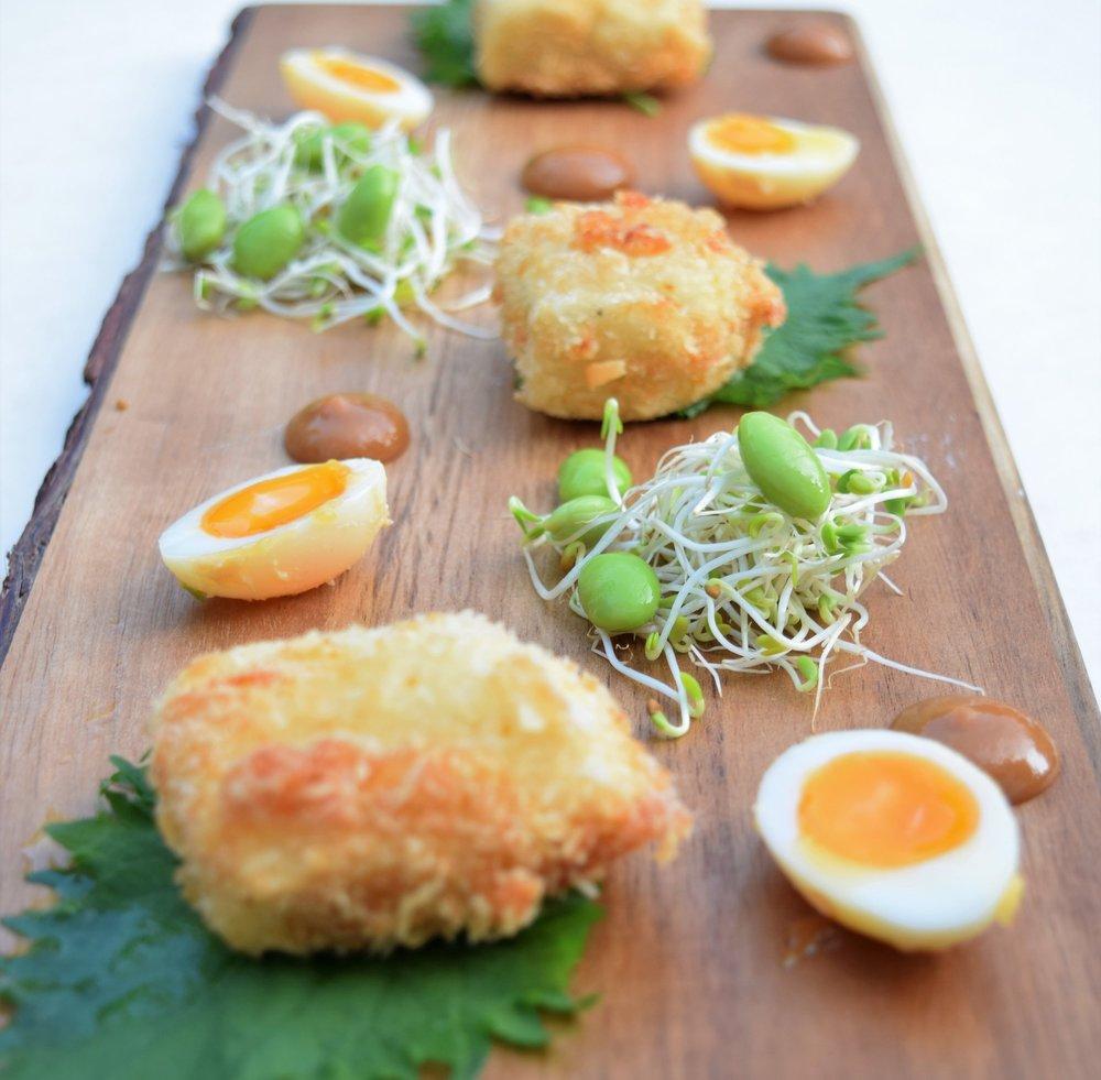 yuzu tofu and quail egg