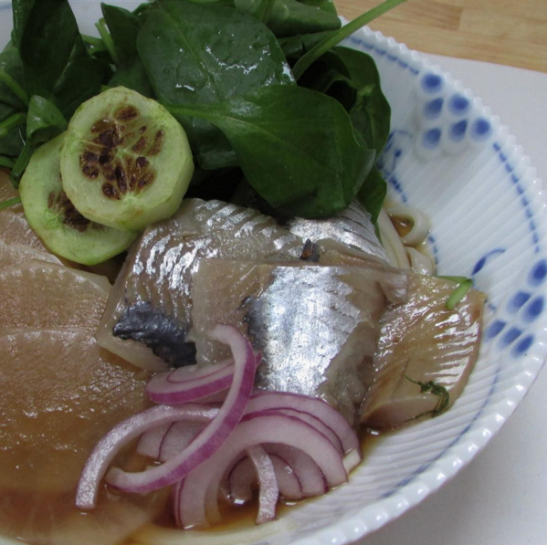 DASHI HERRING & POACHED MOOLI SOBA BROTH