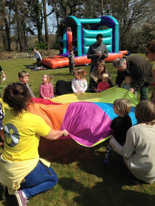 Parachute fun at an outdoor party