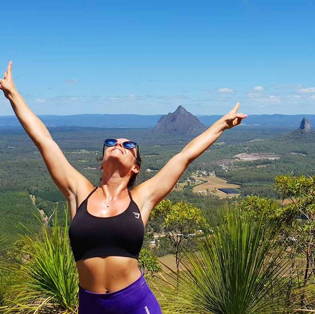 "Celebrating at the summit of what I can only call a ""near death experience"" hike! - FYI.. not a hike! More like a 4 hour vertical rock climb. - Only attempt this hike if you want to fear for your life for 4 hours 🙈 . . . . . . . #sunshinecoast #mttibrogargan #mounttibrogargan #glasshousemountains #qldhiking #qldhike #qldhikersguide #visitqld #travelqld #notahike #neardeathexperience #fearedformylife"