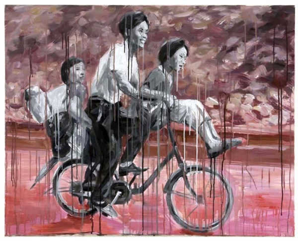 Sheng Qi, Family on Bicycle, oil and Acrylic on canvas, 80x100cm, 2007
