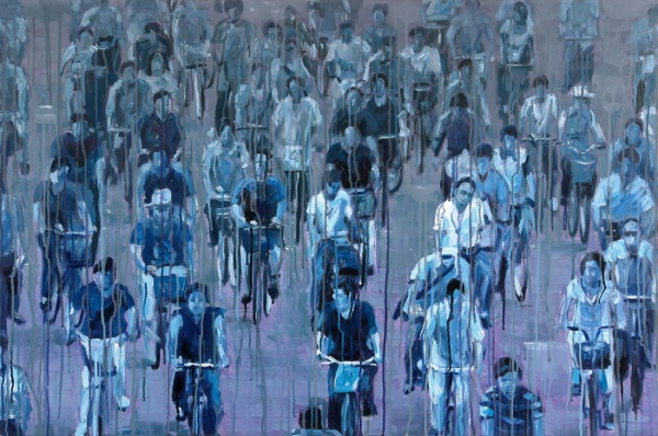 Sheng Qi, Blue Bike, oil and acrylic on canvas, 80x120cm, 2007