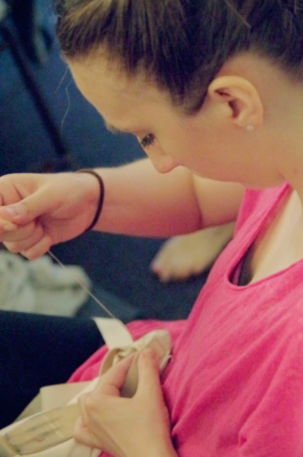 Pointe shoe preparation
